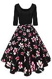 YMING Damen Langarm Kleid Stretch Kleid Freizeitkleider Partykleider Rundhals Formalkleid Abendkleid,Schwarz-Rosa Blume,L,DE 40 42