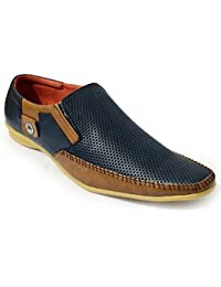 Feetway Men's Slip On Sneaker Shoes Blue/Tan Casual Shoes For Men Stylish- 901