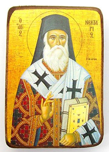 Holz Griechisch Christian Orthodoxe Holz Icon von Saint nektarios von der Insel Ägina /A0