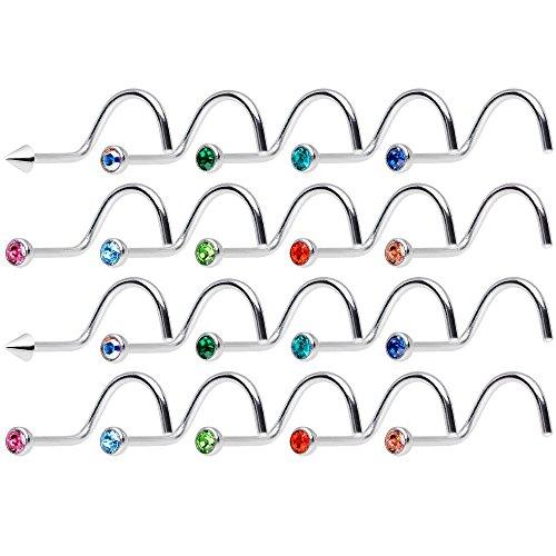 BodyJewelryonline 10PCS adulto naso Piercing in acciaio 316L 18ga - le gemme della CZ - viti - Autoclave cassaforte