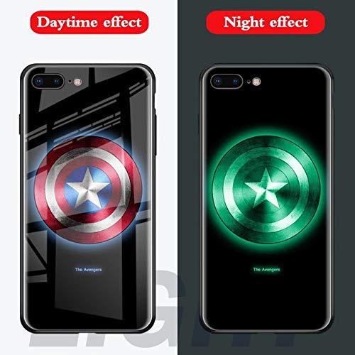 Marvel Batman Superman Spiderman Lumineux en Verre Coque pour iPhone 7866S Plus X 10Avengers panthère Noire Iron Man Coque arrière for 7plus 8plus Captain America