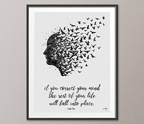 COCOMILLA , Zitat von, fliegende Vögel-Zitat-Tzu Laos, Psychology, terapy, Yoga, nirvana-1016, Mittel, schwarz/weiß, 5.83 x 8.27