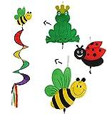 3 tlg. Set - Windspiralen & Windspiele - Biene / Marienkäfer / Frosch - Spirale Spinner - Windrad Windräder - Wetterfest für Außen - Dekohänger Traumfänger / Gartendeko