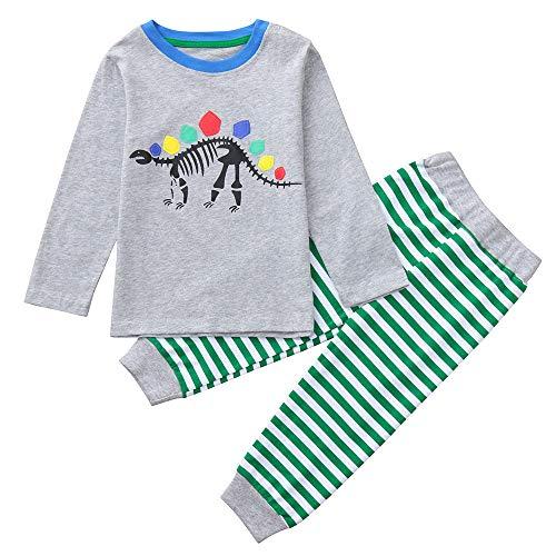 2 STÜCKE Kinder Kinder Jungen Mädchen Bekleidungssets Neugeborene Babybekleidung Mädchen Nachtwäsche Dinosaurier Knochen Print Top + Streifen Hosen Set Outfit ()