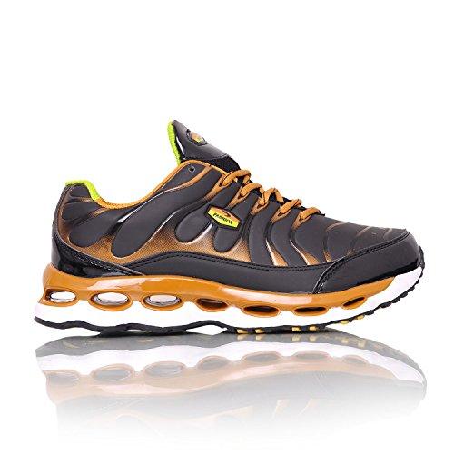 MForshop scarpe da ginnastica uomo running fitness sport sportive palestra corsa 9127 nero/gold-9152