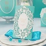 10x Laser-Cut Romantischer Spitze Tiffany Blau Hochzeit Einladung Karten, gratis Passende Umschlag, gratis passenden Einsatz Karte und gratis Dichtung
