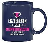 Geburtstags,- Jubiläums,- Abschiedsgeschenk Kaffeetasse Kaffeebecher Erzieherin - Superheldin, Größe: onesize,blau