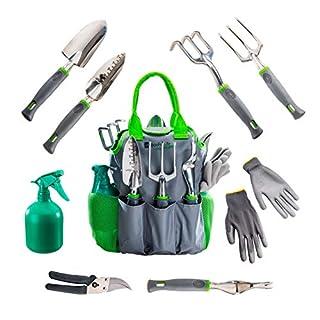 BoxFulLife Gartenliebe - 9in1 Gartenwerkzeug Set (Kelle, Schaufel, Grubber, Harke, Unkraut-Stecher, AST-Schere) mit Werkzeug-Tasche, Garten-Handschuhe und Sprühflasche.
