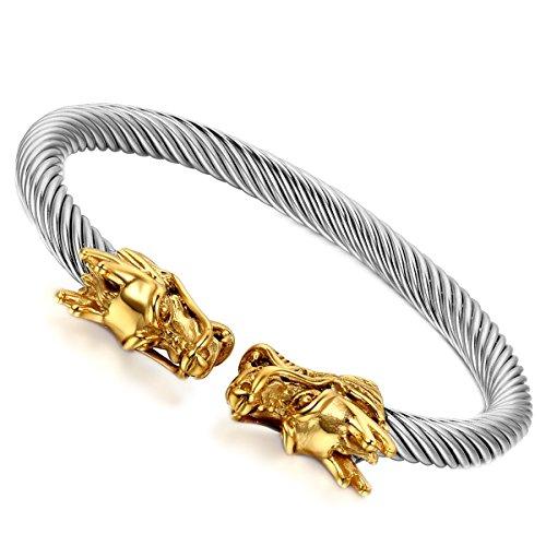 Flongo Herren Armband Damen Armreif, Edelstahl Armband Armreifen Manschette Gold Silber Drahtseil Drachen Elegant Polished Männer, Frauen