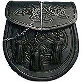 Morral para falda escocesa con detalles célticos en relieve, cierre con botón y cadena, cuero de color negro
