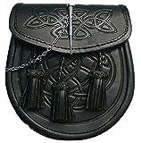 Sporran per kilt scozzese, motivo celtico goffrato, colore: nero in similpelle, con perno di blocco e catena