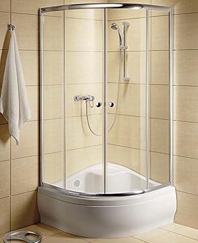 CLASSIC A170® Duschabtrennung Rund Dusche Viertelkreis Duschkabine 90x90x70 cm mit Duschwanne | 30001-01-02 Farbe Transparent