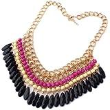 Bocideal Bohemian Halskette Kette Weinlese Gem Blogger Choker Collier Perlen (Hot Pink)