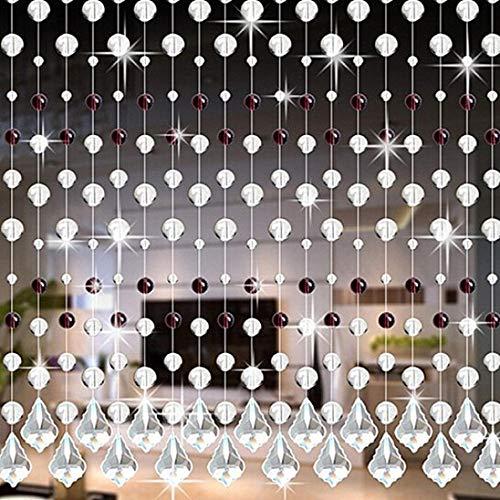 Eastery Vorhänge Kristall Kette Türvorhang Fadengardine Vorhang Raumteiler Perlenvorhang Klar Durchsichtig Einfacher Stil Hochzeit Deko (A) (Color : I, Size : Size) -