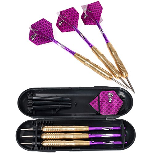 hopewey 3 Stück Profi Steeldarts Golden Beschichtete Metallfässer Dartpfeile Steel mit Hard Box Case, Aluminium Schaft, Standard PET Flights D21