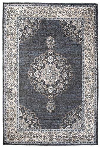 Perser Antik Teppich (Carpeto Orientalisch Teppich Vintage 140 x 200 cm Grau Blau)