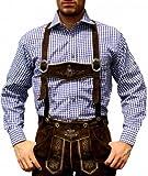 Trachtenhemd für Trachtenlederhosen Oktoberfest Trachtenmode Blau/karo 100% Baumwolle, Hemdgröße:XL