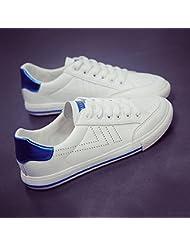 Las Mujeres De Bajo Fondo Plano Superior Encaje Patinaje Sobre Lienzo De Ocio Zapatos Deportivos Zapatos Deportivos Alojamiento,35,Azul Blanco