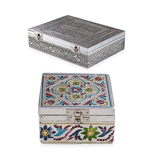 Jewellery Storage Hand Crafted Floral Embossed Vintage Set of 2 Gift Box Organizer Leaves Embossed Vintage Look