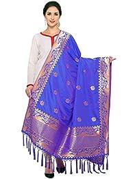 Royal Blue& Golden Art Silk Banarasi Dupatta With Tassel