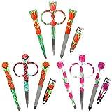 3 LOT - 4pc Manicure Set / Travel Kit - Nail Clippers, Scissors, Tweezers, Nail File - Floral Set