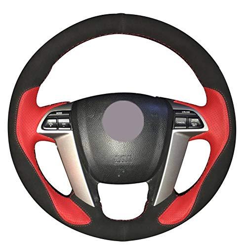 KAIDDRGFH Schwarzes Wildleder rot Leder Auto Lenkradbezug für Honda Accord 8 2008-2013 Odyssey 2011-2014 Pilot 2012-2015 (Honda Accord 2015 Leder)
