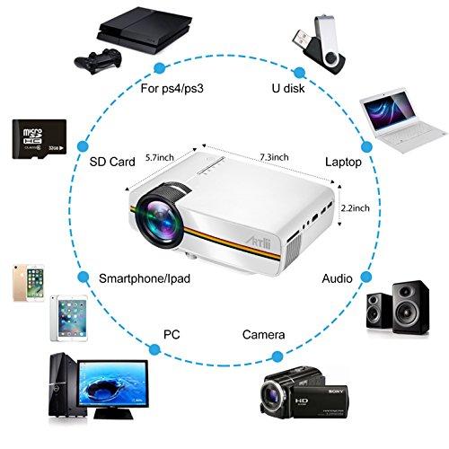 Projecteur Video, Artlii Projecteur Home Cinéma Mini Portable 1200 lumens Supporte 1080P Full HD, Vidéoprojecteur avec HDMI/USB/AV/VGA/SD (Blanc)