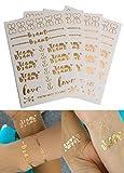 Constant Love® Damen Beauty Tattoos 24x Team Braut 8xBraut JGA Tattoo Set - Braut und JGA Bridal Party Gold & Rosegold (Mehrfarbig)