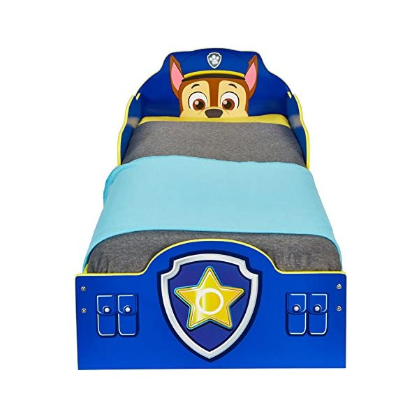 Paw Patrol Chase Kids Toddler Bed with Underbed Storage by HelloHome Paw Patrol Ideal transition from cot to bed - make the move to their first big bed magical with the Paw Patrol toddler bed with underbed storage from HelloHome, featuring Chase Takes cot bed size mattress - 140 (l) x 70 cm (w). Mattress not included. Assembled size (h) 68, (w) 77, (l) 145 cm Suitable for 18 months to 5 years, this blue kids bed is for your little Paw Patrol and Chase fan 5