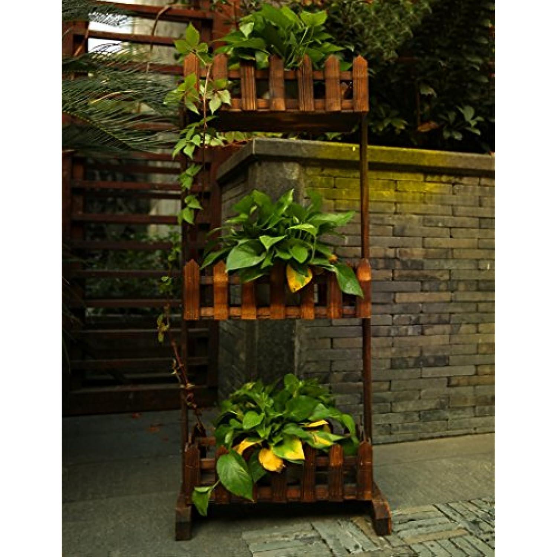 DFHHG® DFHHG® DFHHG® Porte fleurs, balcon en bois massif Style européen ancien Bonsai Couches multiples Étagère de style Pots 45 × 20 × 15cm Support de fleur américain (taille : 60*20*15cm) 30d6f9