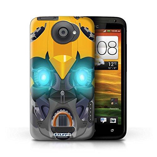 Kobalt® Imprimé Etui / Coque pour HTC One X / Mega-Bot Vert conception / Série Robots Bumble-Bot Jaune