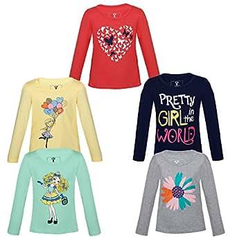 07ccafc9 LANDEBERT Girl's Cotton Printed T-Shirt: Amazon.in: Clothing ...