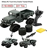 Bescita Militär RC Truck Armee 1:16 4WD verfolgt Räder Crawler Kettenrad Off-Road Auto RTR Spielzeug NEUZ (Schneerad + Vierrad) (Armeegrünc)