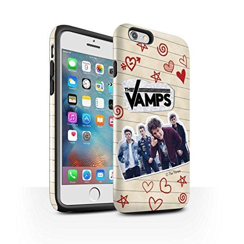 Officiel The Vamps Coque / Brillant Robuste Antichoc Etui pour Apple iPhone 6+/Plus 5.5 / Pack 5Pcs Design / The Vamps Livre Doodle Collection Stylo Rouge