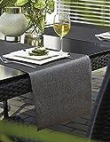 """Stilvoller OUTDOOR - Tischläufer """" METALLIC """" in ANTHRAZIT / GRAU / SILBER - Größe 40x150 - der perfekte Tischläufer für drinnen und draußen - geeignet für Haus, Terrasse, Balkon und Garten - ABWASCHBAR - WIND- und WETTERFEST - UV-BESTÄNDIG - RUTSCHFEST - geprüft nach Öko - Tex Standard 100 - MADE in GERMANY - auch in vielen weiteren FARBEN erhältlich - aus dem KAMACA-SHOP"""
