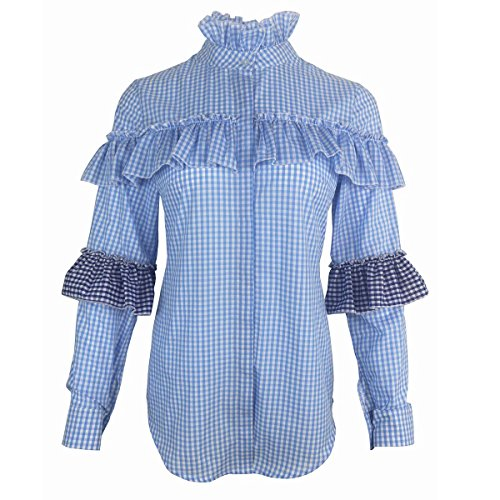 3a6ef7953d6d8a AOMEI Camisas - Button Down - con Botones - Manga Larga - Para Mujer Azul  Azul
