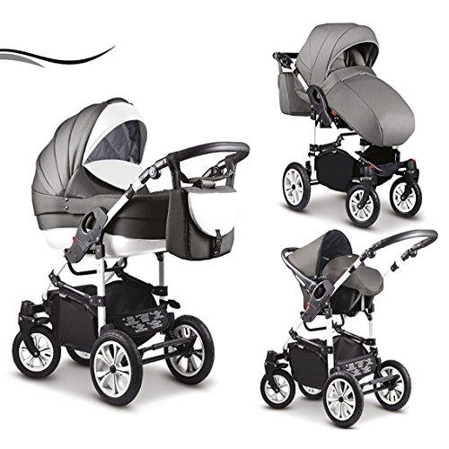 """16 teiliges Qualitäts-Kinderwagenset 3 in 1 Mikado """"COSMO"""": Kinderwagen + Buggy + Autokindersitz + Schwenkräder - Mega-Ausstattung - all inclusive Paket in Farbe (C-42) WEISS-HELLGRAU-WEISS"""