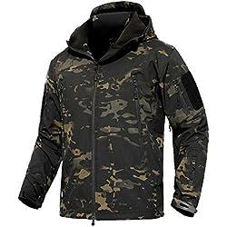 Impermeable militar táctica lucha contra la chaqueta de Softshell camping al aire libre caminar camuflaje Hoodie Coat (Camuflaje nocturno, medium)