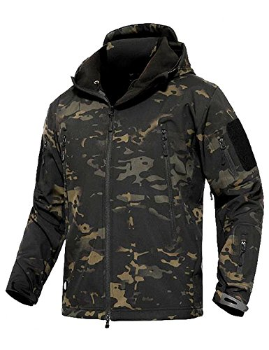 Cappotti con cappuccio Softshell UomoAbbigliamento tattico militare caldo camouflage Tattico Impermeabile impermeabile cappotto di abbigliamento (XL, Camuffamento notturno)