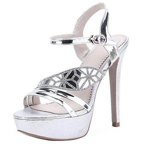 COOLCEPT Femmes Mode Metalliques Color Sangle de cheville Plate-forme Sandales Talons hauts With Strass Argent