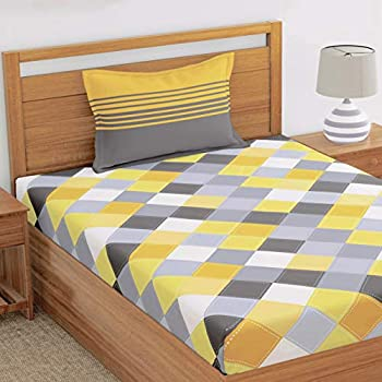 LORETO - A QUALITY LINEN BRAND Cotton Bedsheet With 1 Pillow Cover - Single, Multicolor