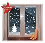 das-label Fensterbild -Winternacht- WIEDERVERWENDBAR - wunderschöne Motive - ohne transparenten Hintergrund - konturgestanzte NEUHEIT