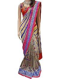 Isha Enterprise Women's Georgette Multi Color Thread Work With Mirror Work Designer Saree
