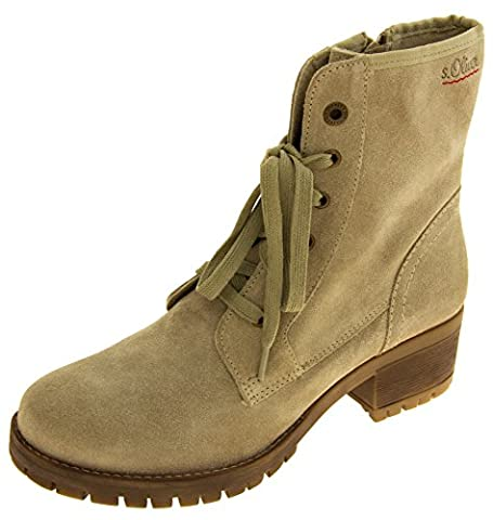 Womens S.oliver Beige Leather Combat Boots UK 6