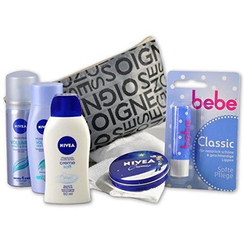Handverpacktes Geschenk-Set Beauty Bag for WOMEN mit Nivea Shampoo und Haarspray sowie Pflegedusche und Hautcreme plus Bebe Lippenpflege und Kosmetiktasche perfekt für Reisen und Kurzurlaube