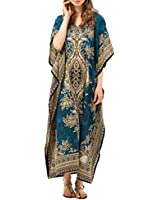 New Ladies Womens Long Cool Kaftans Printed Dress With Waist Tie