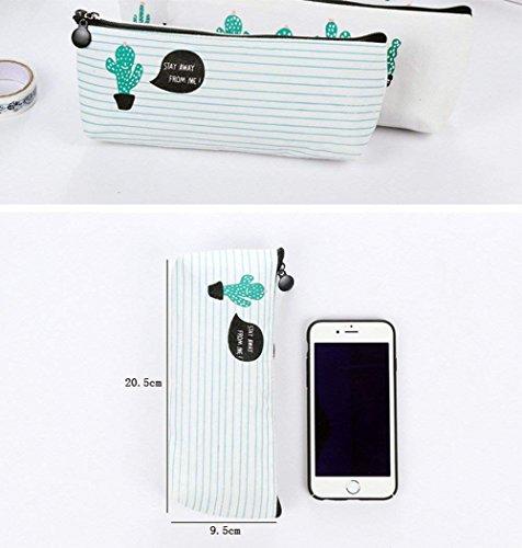 WeiMay Set di 3 astucci porta penne/cosmetici, motivo cactus - 5