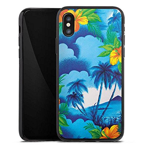 Apple iPhone X Silikon Hülle Case Schutzhülle Urlaub Palmen Hawaii Silikon Case schwarz