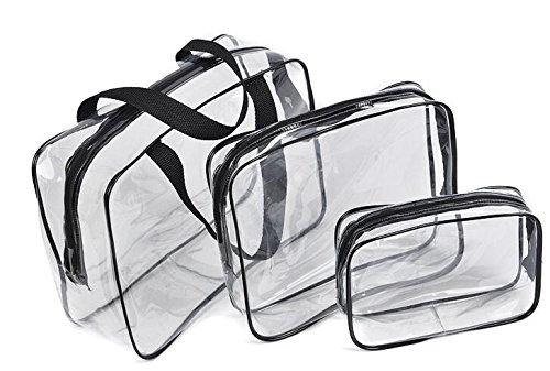 Br-kosmetik (Brinny Strandtasche - Durchsichtige Tasche Reise Make-up Tasche mit 6 Außentaschen Kosmetik Organizer mit Schultergurt Groß)