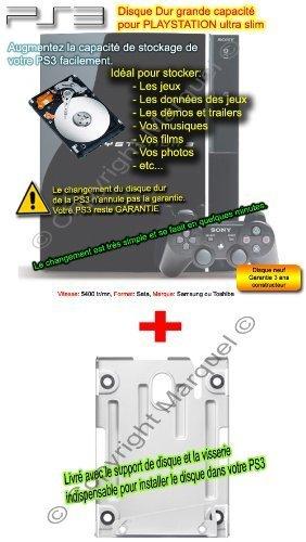Disque Dur 500 Go + Support Disque Dur Pour Playstation Ps3 Ultra Slim tout modèle